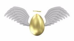 Big Golden Egg with Angel White Wings and Golden Nimbus on different backgrounds Stock Footage