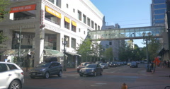 Traffic on 4th Avenue in Portland, Oregon Stock Footage