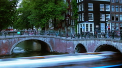 Canals and bridge in Amsterdam.Time lapse view with zoom,4k Stock Footage