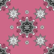 Folk inspired  wallpaper pale violet red Stock Illustration