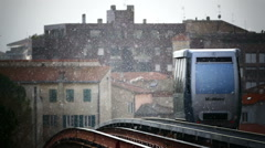 Italy Umbria Perugia Minimetro Subway Metro Train arriving at Station Stock Footage