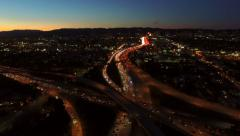 Los Angeles Aerial Freeway Interchange Dusk - stock footage