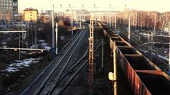 Cargo train moves on railway Stock Footage