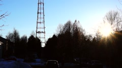 TV tower in the dark blue sky Stock Footage