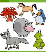 animals cartoon characters set - stock illustration