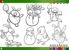 easter cartoons for coloring book - stock illustration
