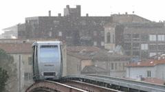 4K Italy Umbria Perugia Minimetro Subway Metro Train arriving at Station Stock Footage
