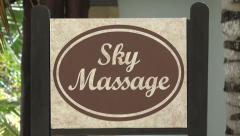 Sky Massage Building - Zoom Out Stock Footage