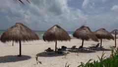 Palapa Perfect Beach Shade - Closeup Pan Stock Footage