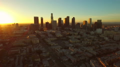 Stock Video Footage of Los Angeles Aerial Downtown Cityscape Sunrise
