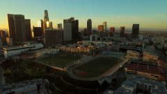 Los Angeles Aerial Downtown Cityscape Sunrise Stock Footage