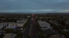 Los Angeles Aerial Venice Blvd Dusk Stock Footage