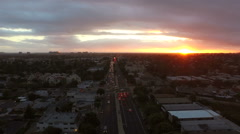 Los Angeles Aerial Venice Blvd Sunset Stock Footage