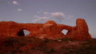 Stock Video Footage of Arches Timelapse 07 Zoom In Sunset at North and South Window Arch 4K
