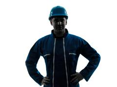 man construction worker smiling silhouette - stock photo
