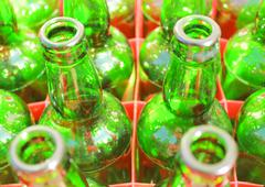 Beer bottles of green glass Stock Photos