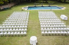 Chairs Dozens Outdoors Pool - stock photo