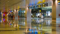 4k Ultra HD time lapse video of arrival hall of Changi Airport, Singapore Stock Footage
