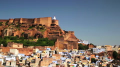Mehrangarh Fort and the old blue city of Jodhpur, India Stock Footage