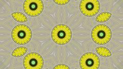 Fantasy spring kaleidoscopic animation of yellow flower on gray background. - stock footage