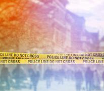 Police Line Headband Tape On the Street - stock photo
