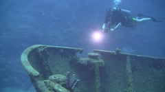 Wreck diving on the El Aguila, Honduras - stock footage