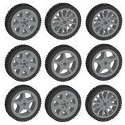 Stock Illustration of automotive wheel with alloy wheels. Vector illustration.