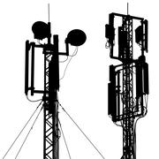 Silhouette mast antenna mobile communications. Vector illustration. Stock Illustration