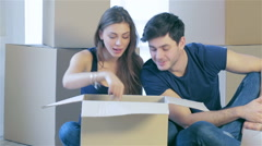 The joy of moving into the house - stock footage