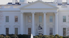 Zoom out of White house north lawn crowd Stock Footage