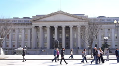 Stock Video Footage of Wide shot of US Treasury Building