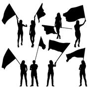 Black silhouettes of  mans and womans with flags on white background. Vector Stock Illustration