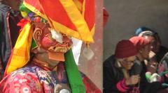 Lamayuru Festival 2013 Masked dancer waits,Lamayuru,Ladakh,India Stock Footage