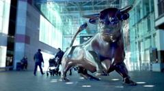 Birmingham Bullring bull statue. Stock Footage