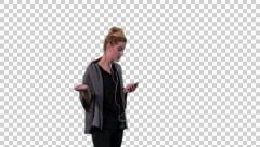 Girl is on the phone argues, standing, talking  Stock Footage