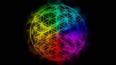 Rainbow flower of life with aura - symbol of sacred geometry - stock footage