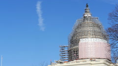 Side shot of US Capital Under Construction With Scaffolding Stock Footage