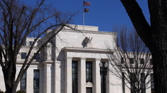 Side shot of federal reserve building Stock Footage