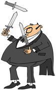 Man in a tux juggling knives - stock illustration