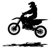 Black silhouettes Motocross rider on a motorcycle. Vector illustrations. Stock Illustration