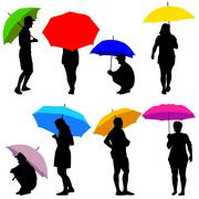 Silhouettes man and woman under umbrella. Vector illustrations. - stock illustration