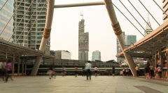 Timelapse of People Walking in Chong Nonsi BTS Station Stock Footage