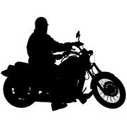 Black silhouettes Motocross rider on a motorcycle. Vector illustrations. - stock illustration