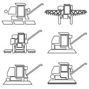 Collection flat icons with long shadow. Agricultural vehicles harvesting comb - stock illustration