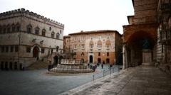 4K Italy Umbria Perugia main square Stock Footage