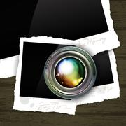 camera lens with photo - stock illustration