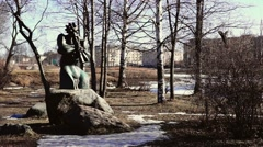 Art sculpture in city park in spring Stock Footage