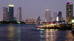 Timelapse of Riverboat Traffic at the port on Chao Phraya River Stock Footage