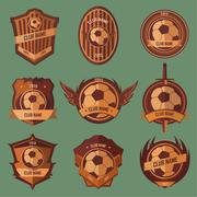 Soccer ball emblems - stock illustration