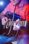 Male Musician with a acoustic Guitar Stock Photos